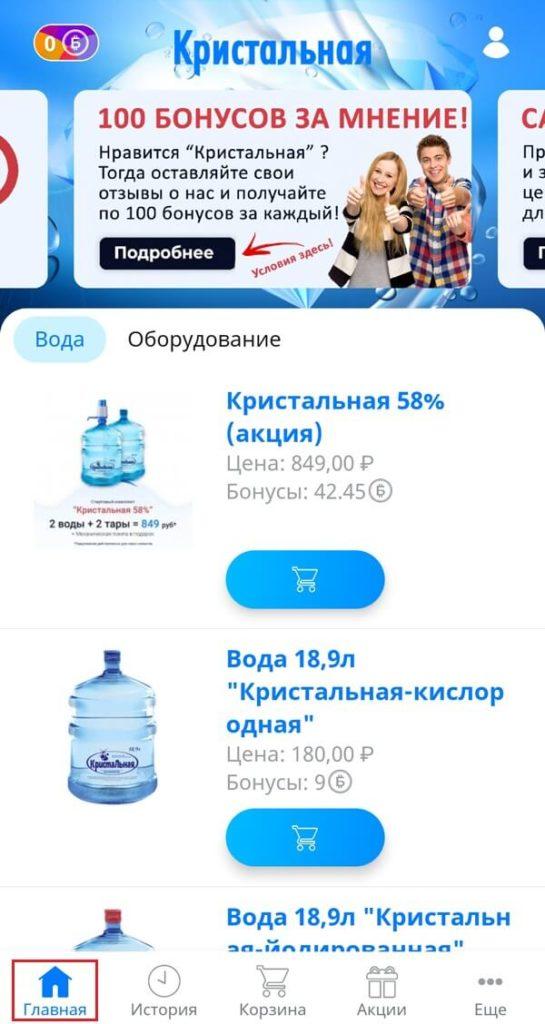 Главная страница мобильного приложения